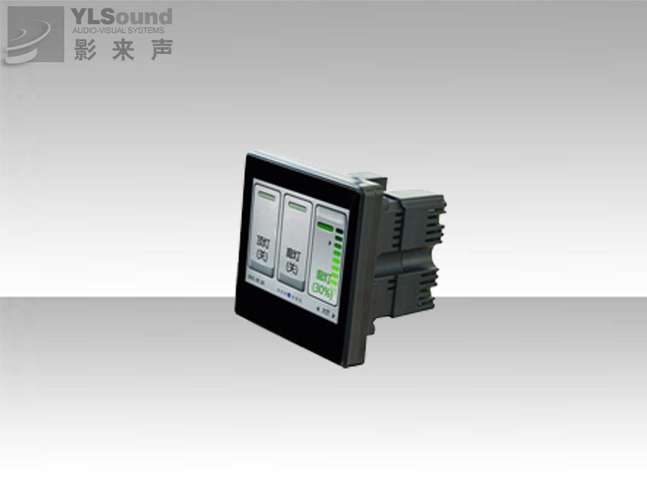 可编程液晶电容触控墙面板(带4路继电器) 产品特点: 1.本产品采用3.5英寸TFT液晶屏幕,24bits真彩色,电容触控界面,全可视化控制。 2.ARM11处理器,主频300M,64M DDR+64MBits SPI 3.配套编程工具,用自定义控制界面和命令。 4.具有1路RS232,1路RS485(二种串口选一种应用,不可同时使用),4路继电器。7位欧式压线端子接口和2个RJ45接口。支持单机和多机控制。 5.